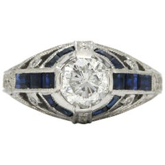 Art Deco Inspired Diamond Engagement Ring Over 1 Carat Solitaire Sapphire Dome