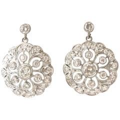 Art Deco Inspired Diamond Platinum Cluster Earrings