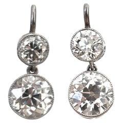 Art Deco Inspired Diamond Platinum Earrings