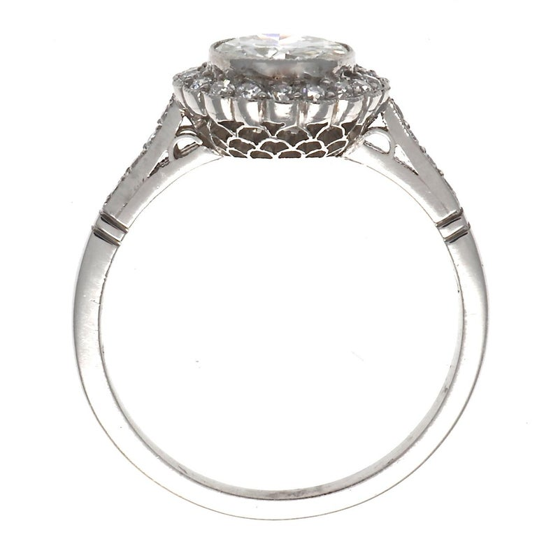 Women's Art Deco Inspired Diamond Platinum Halo Engagement Ring For Sale