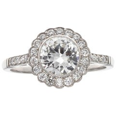 Art Deco Inspired Diamond Platinum Halo Engagement Ring