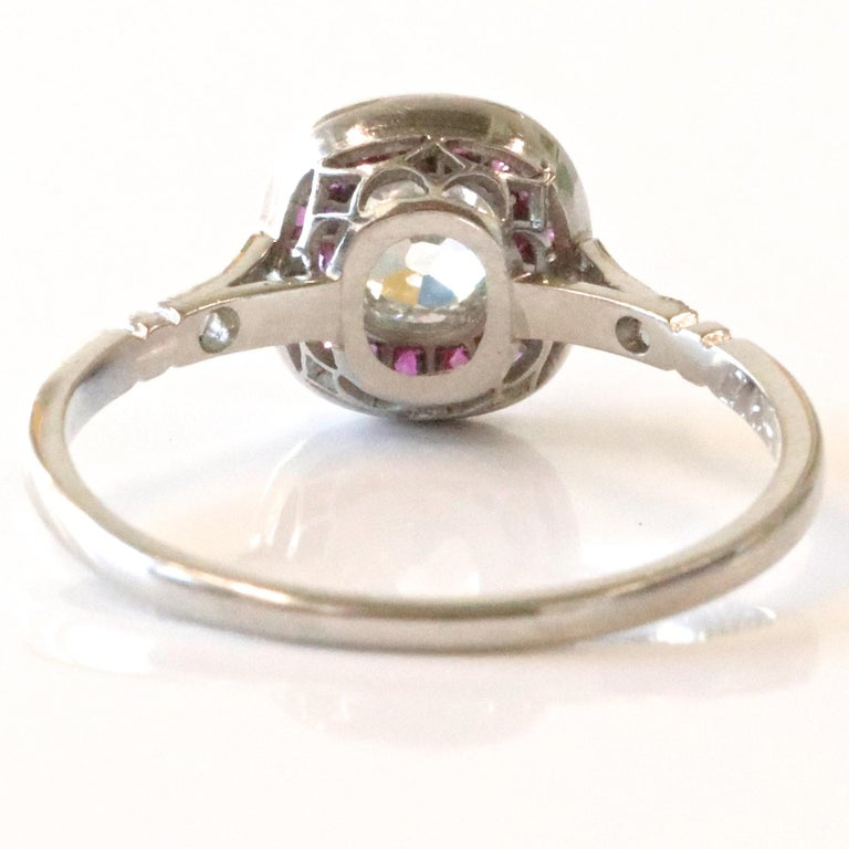 Women's Art Deco Inspired Diamond Ruby Platinum Ring For Sale