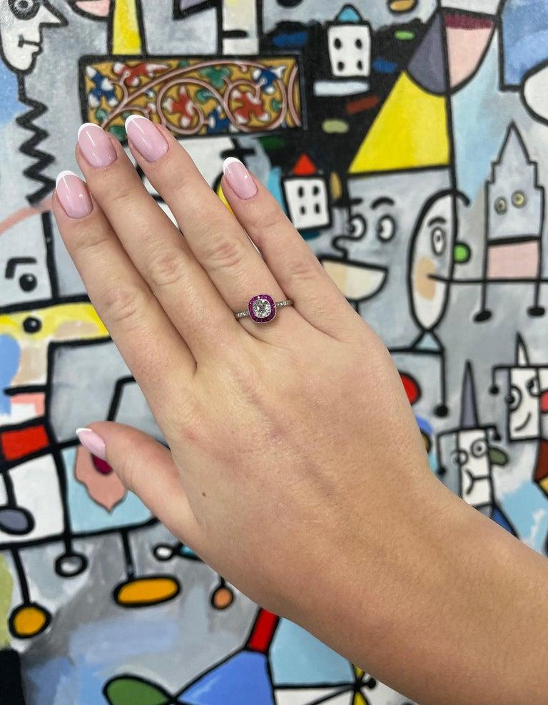 Art Deco Inspired Diamond Ruby Platinum Ring For Sale 1