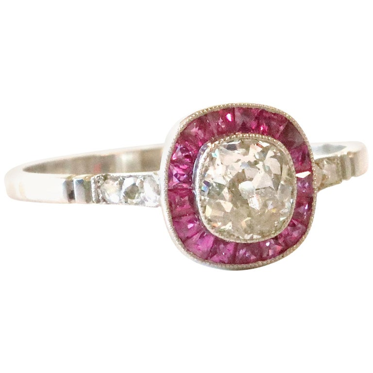 Art Deco Inspired Diamond Ruby Platinum Ring For Sale