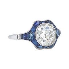 Art Deco Inspired Diamond Sapphire Engagement Ring