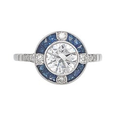 Art Deco Inspired Diamond Sapphire Halo Platinum Engagement Ring