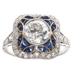 Art Deco Inspired Diamond Sapphire Platinum Ring