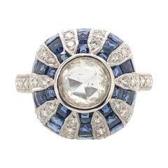 Art Deco Inspired Diamond & Sapphire Ring 18k White Gold