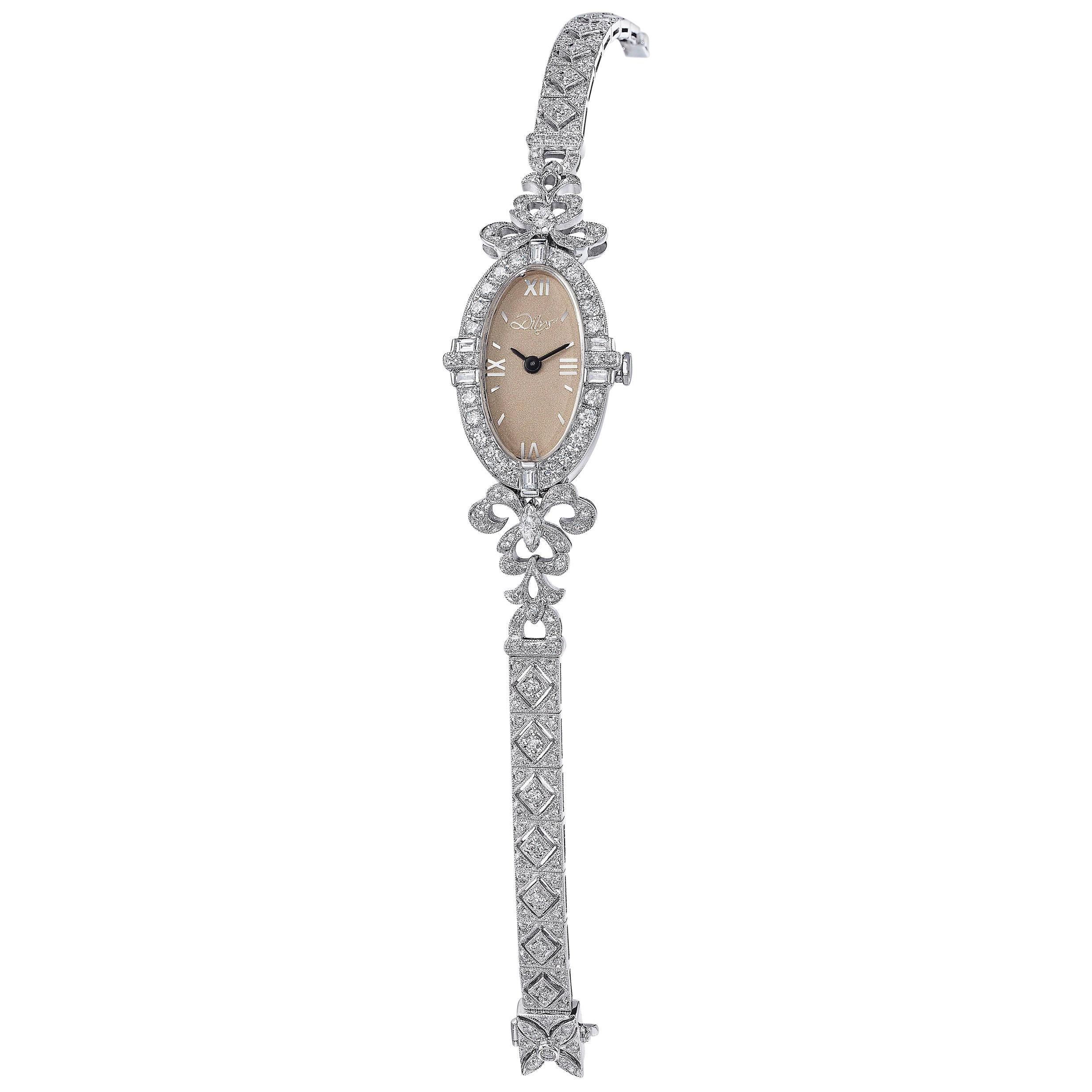 Art Deco Inspired Diamond Swiss Quartz Movement Watch in 18 Karat Gold
