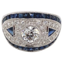 Art Deco Inspired Diamond with Sapphire Ring 18 Karat White Gold