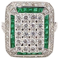 Art Deco Inspired Diamonds and Emeralds Ring 18 Karat White Gold