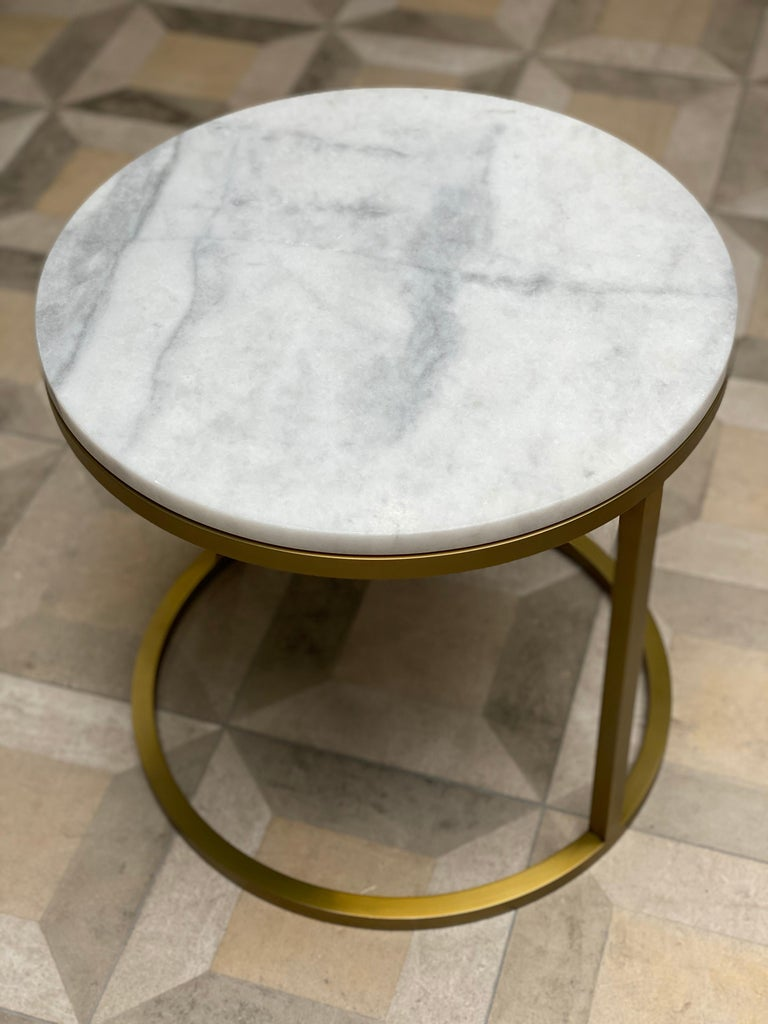 Plated Art Deco Inspired Diana Round Coffee Table in Brass Tinted and Arabescato Marble For Sale