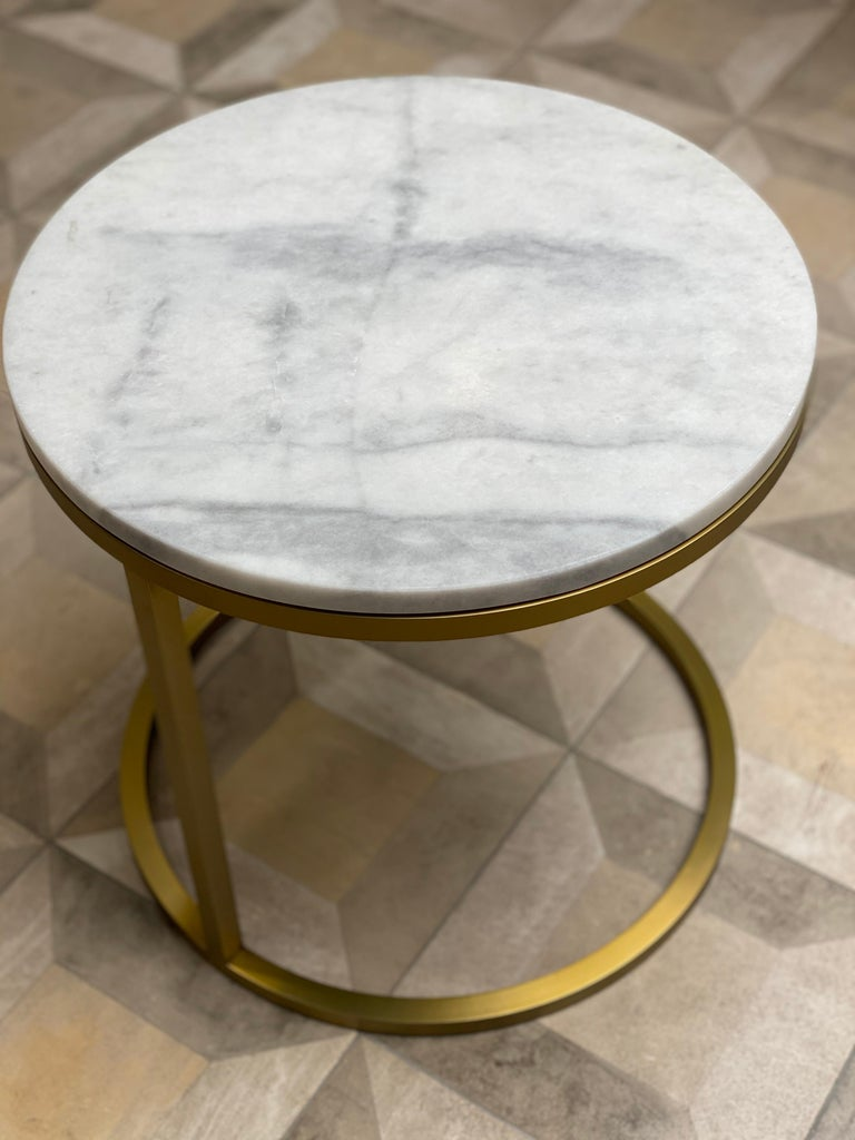 Stainless Steel Art Deco Inspired Diana Round Coffee Table in Brass Tinted and Arabescato Marble For Sale