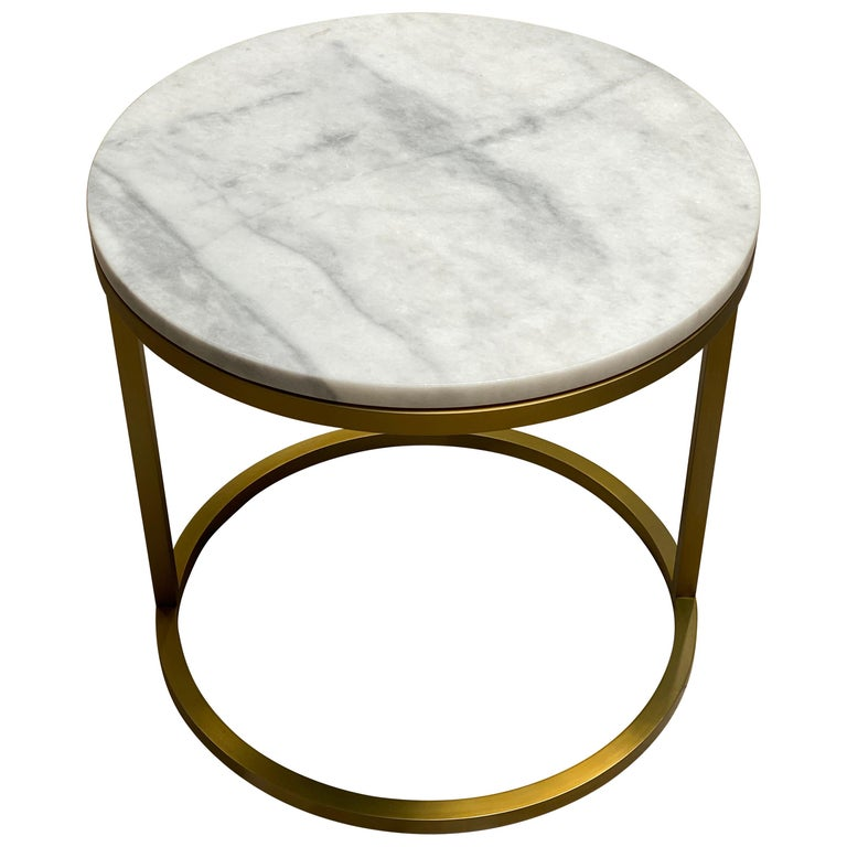 Art Deco Inspired Diana Round Coffee Table in Brass Tinted and Arabescato Marble For Sale