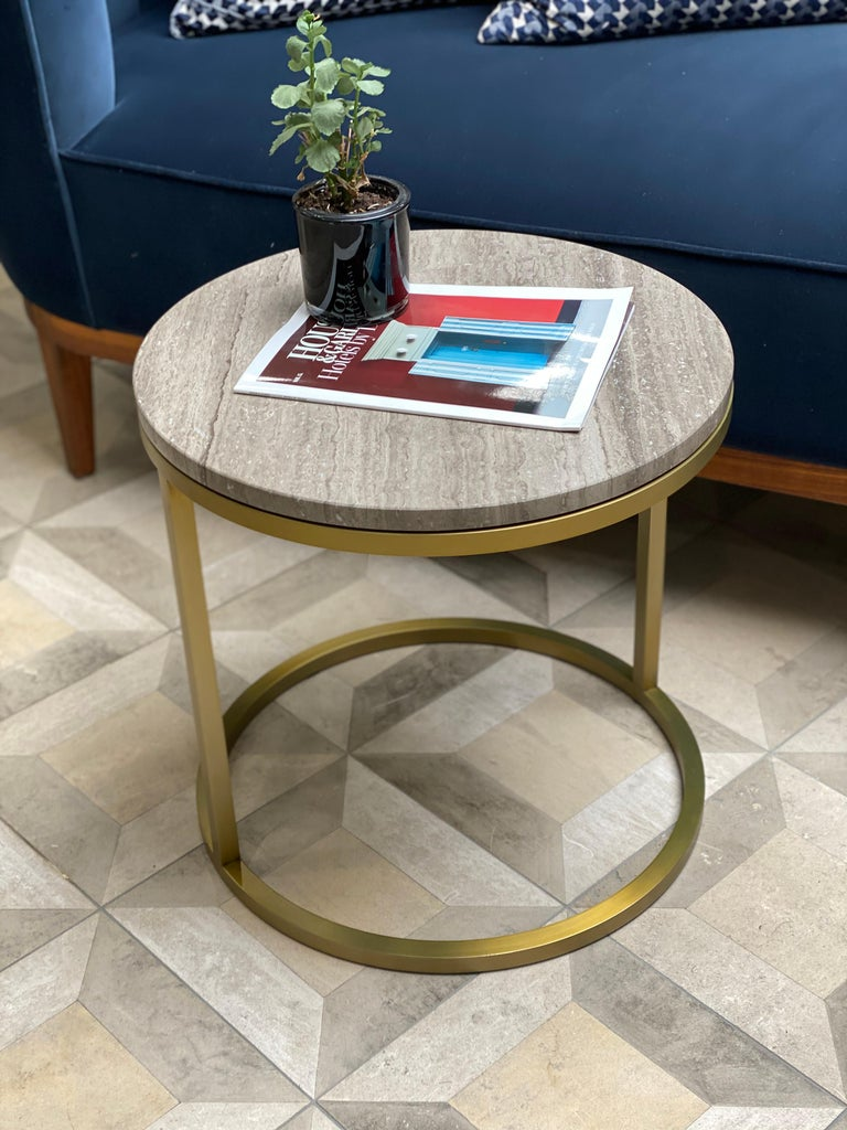 Art Deco Inspired Diana Round Coffee Table in Brass Tinted and Moonstone Marble For Sale 4