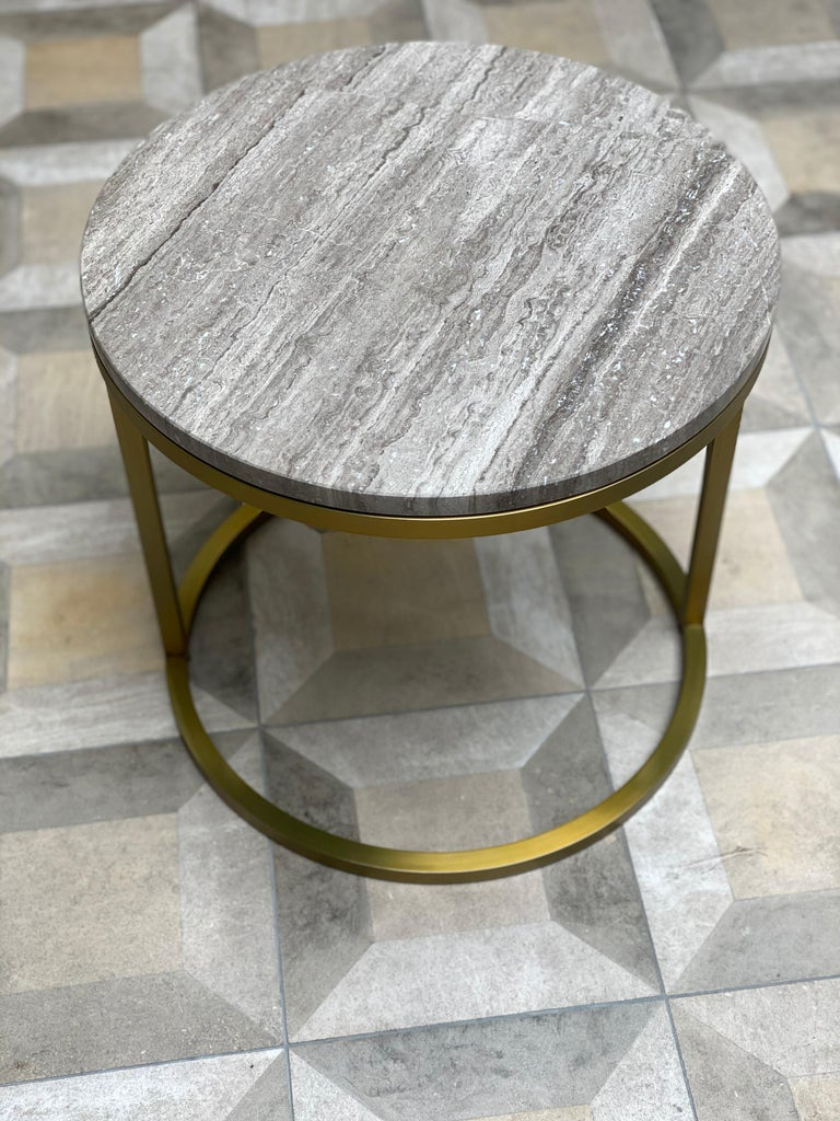 Art Deco Inspired Diana Round Coffee Table in Brass Tinted and Moonstone Marble For Sale 5