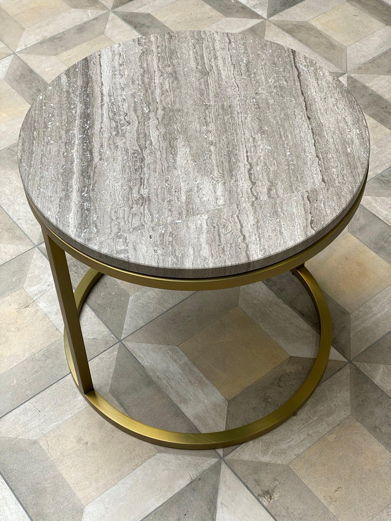 Art Deco Inspired Diana Round Coffee Table in Brass Tinted and Moonstone Marble In New Condition For Sale In London, GB