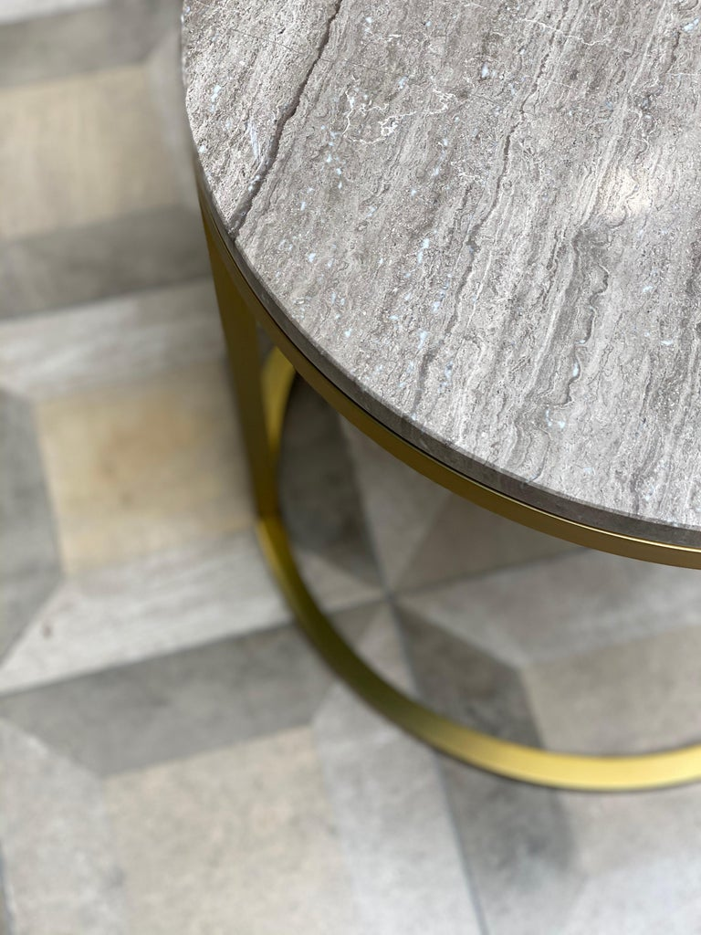 Stainless Steel Art Deco Inspired Diana Round Coffee Table in Brass Tinted and Moonstone Marble For Sale
