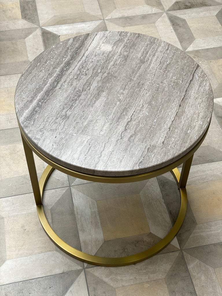Art Deco Inspired Diana Round Coffee Table in Brass Tinted and Moonstone Marble For Sale 1