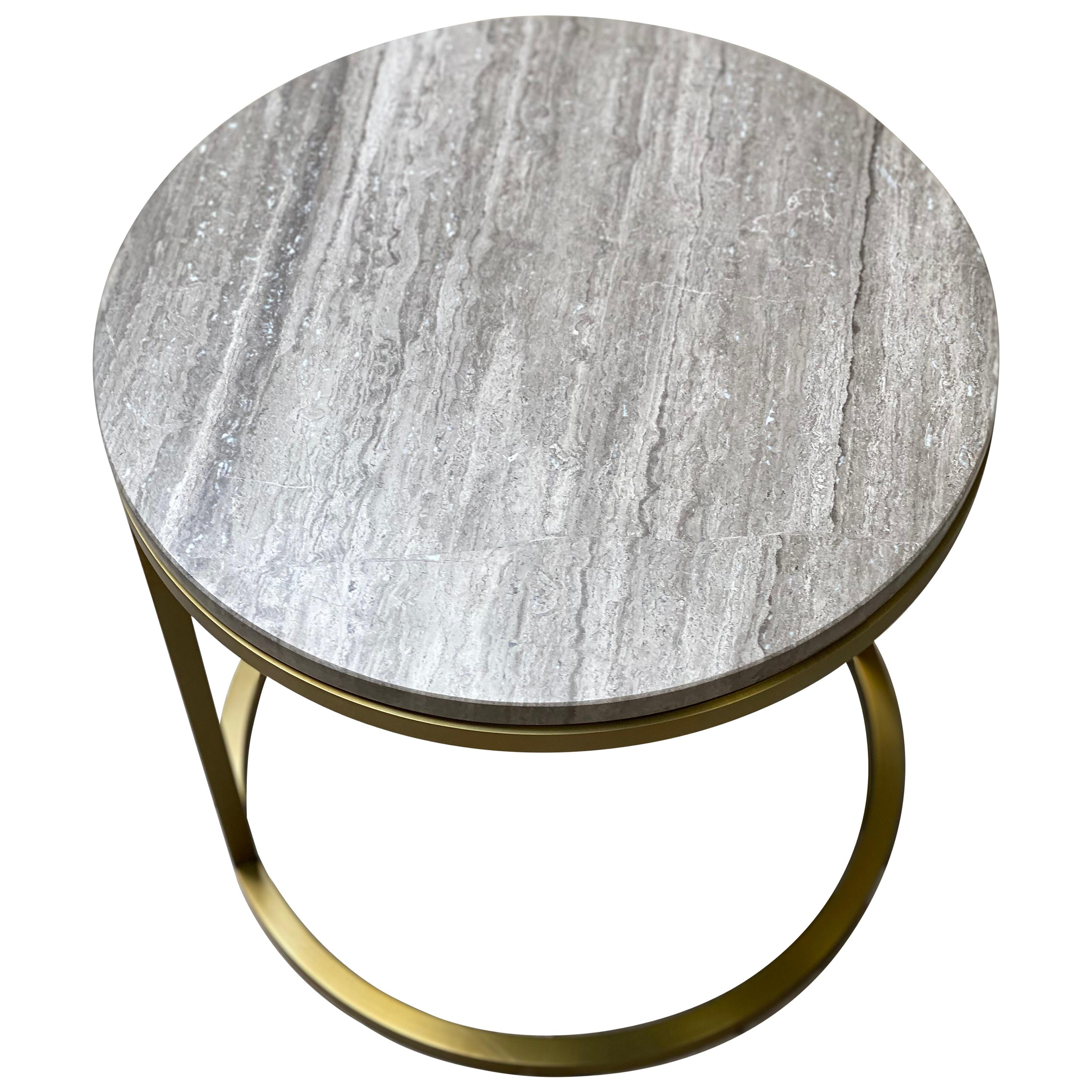 Art Deco Inspired Diana Round Coffee Table in Brass Tinted and Moonstone Marble