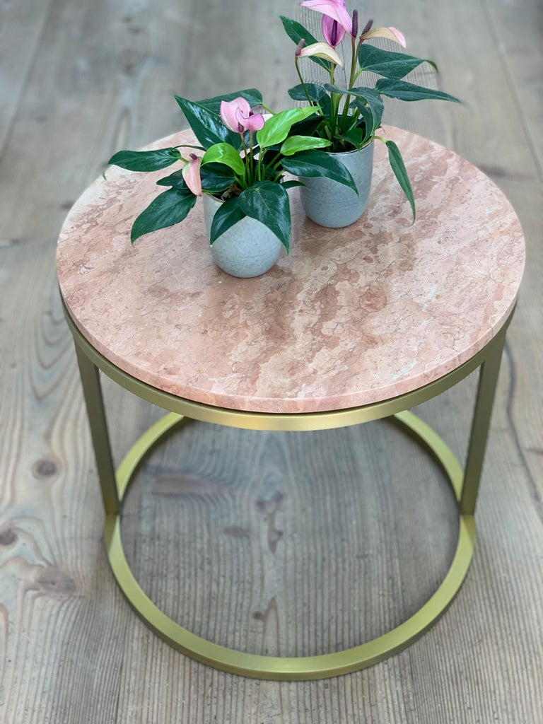 Contemporary Art Deco Inspired Diana Round Coffee Table in Brass Tinted and Pink For Sale