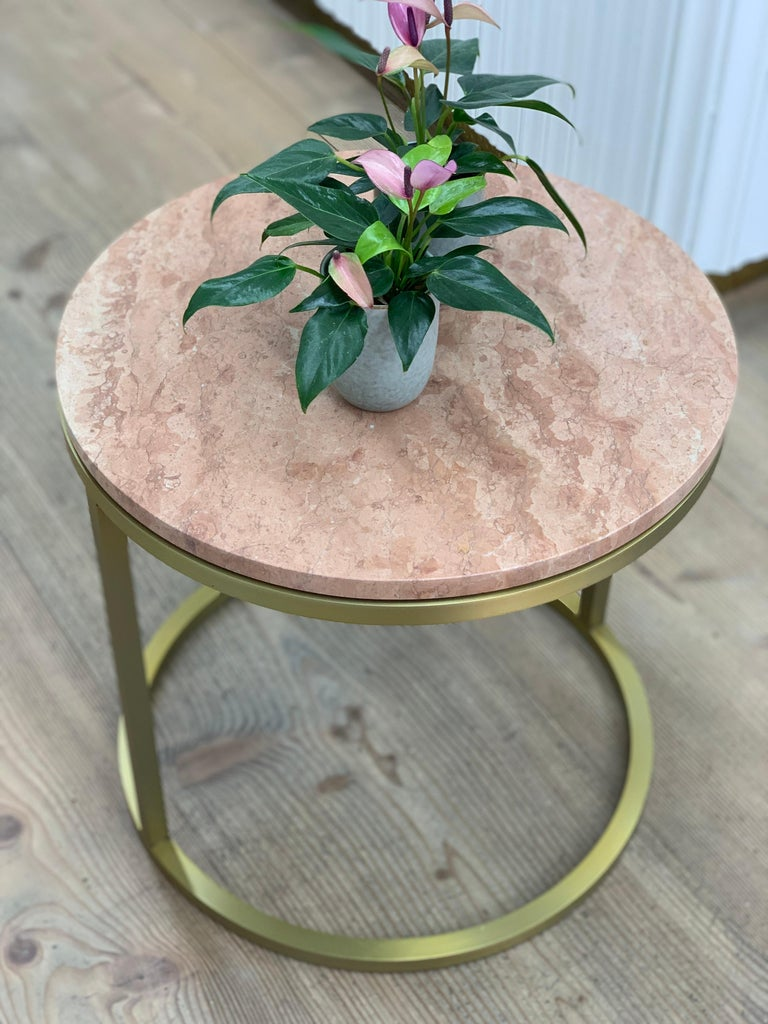 Stainless Steel Art Deco Inspired Diana Round Coffee Table in Brass Tinted and Pink For Sale