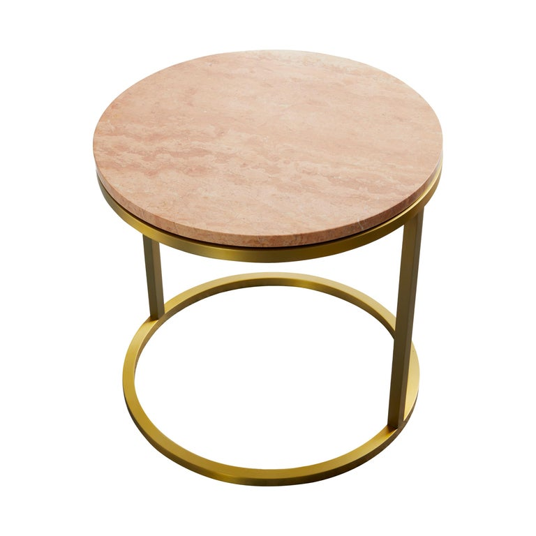 Art Deco Inspired Diana Round Coffee Table in Brass Tinted and Pink For Sale