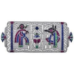 Art Deco Inspired Egyptian Revival Platinum 3.49 Carat with Gemstones Brooch