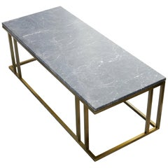 Art Deco Inspired Elio Coffee Table Antique Brass Tint Structure & Marble