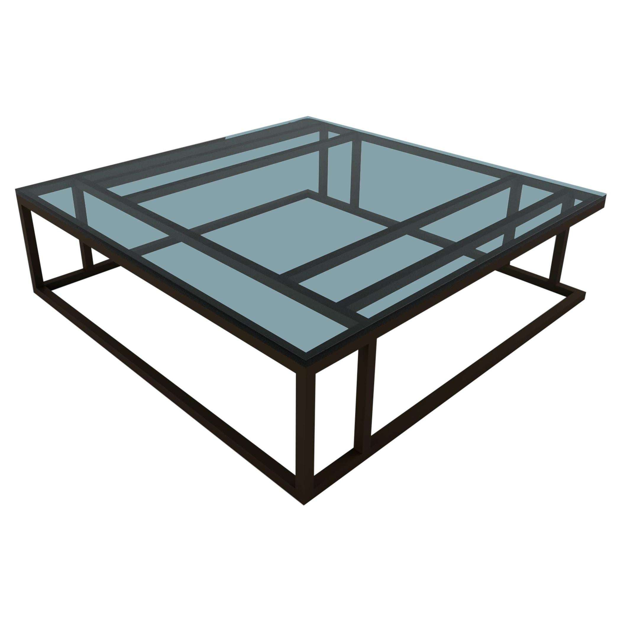 Art Deco Inspired Elio Coffee Table Large Powder-Coated and Glass Surface