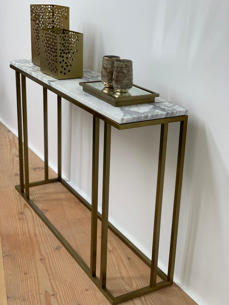 Art Deco Inspired Elio Console in Antique Brass Tint Structure & Marble Surface For Sale 5