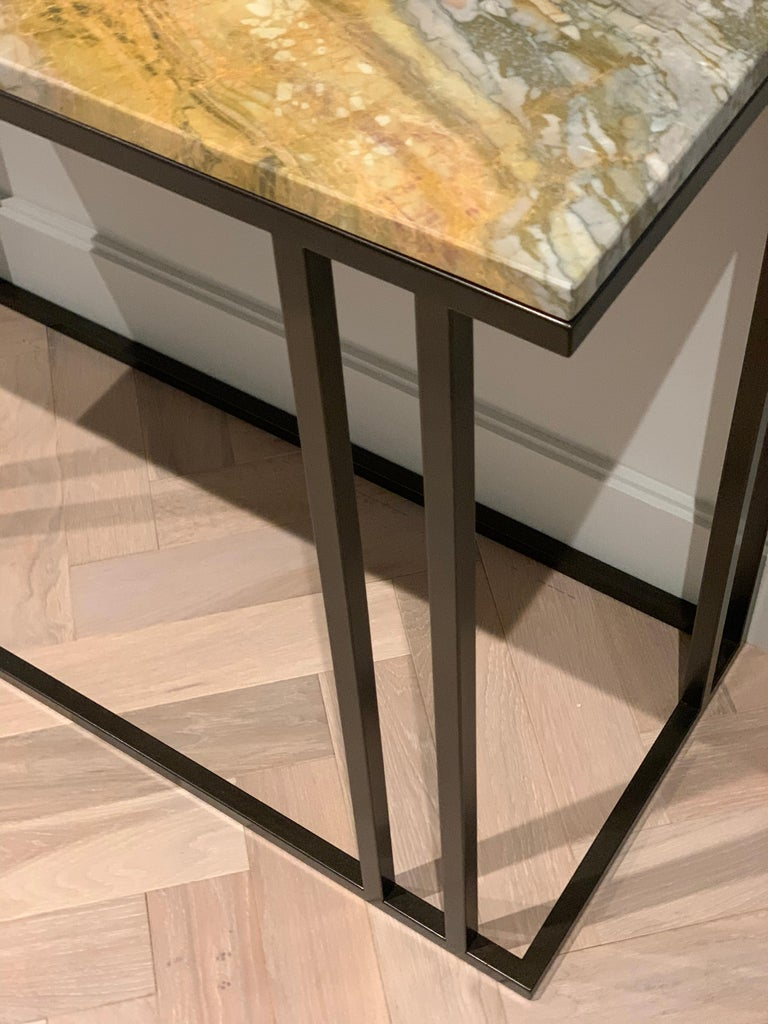 Art Deco Inspired Elio Console in Antique Brass Tint Structure & Marble Surface For Sale 4