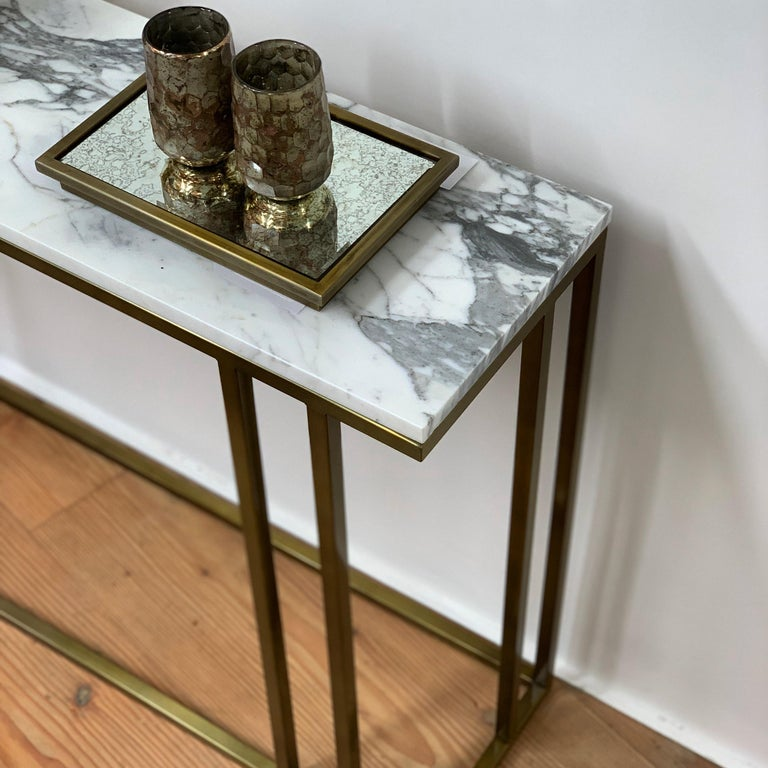 Patinated Art Deco Inspired Elio Console in Antique Brass Tint Structure & Marble Surface For Sale