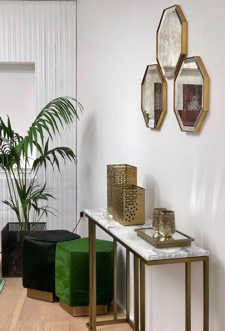 Art Deco Inspired Elio Console in Antique Brass Tint Structure & Marble Surface For Sale 2