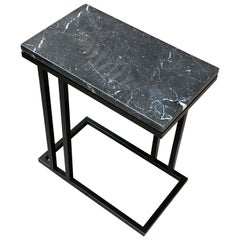 Art Deco Inspired Elio II Slim Side Table Black Powder Coated and Marble