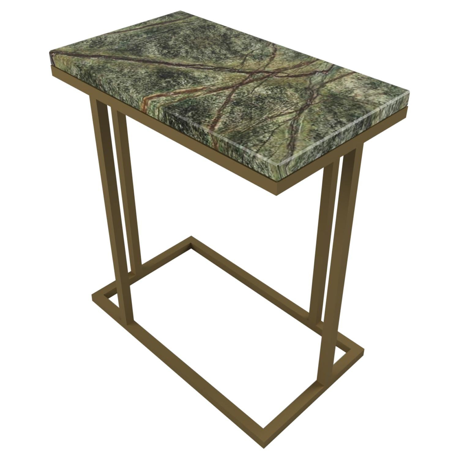Art Deco Inspired Elio II Slim Side Table in Brass Tint and Marble Surface