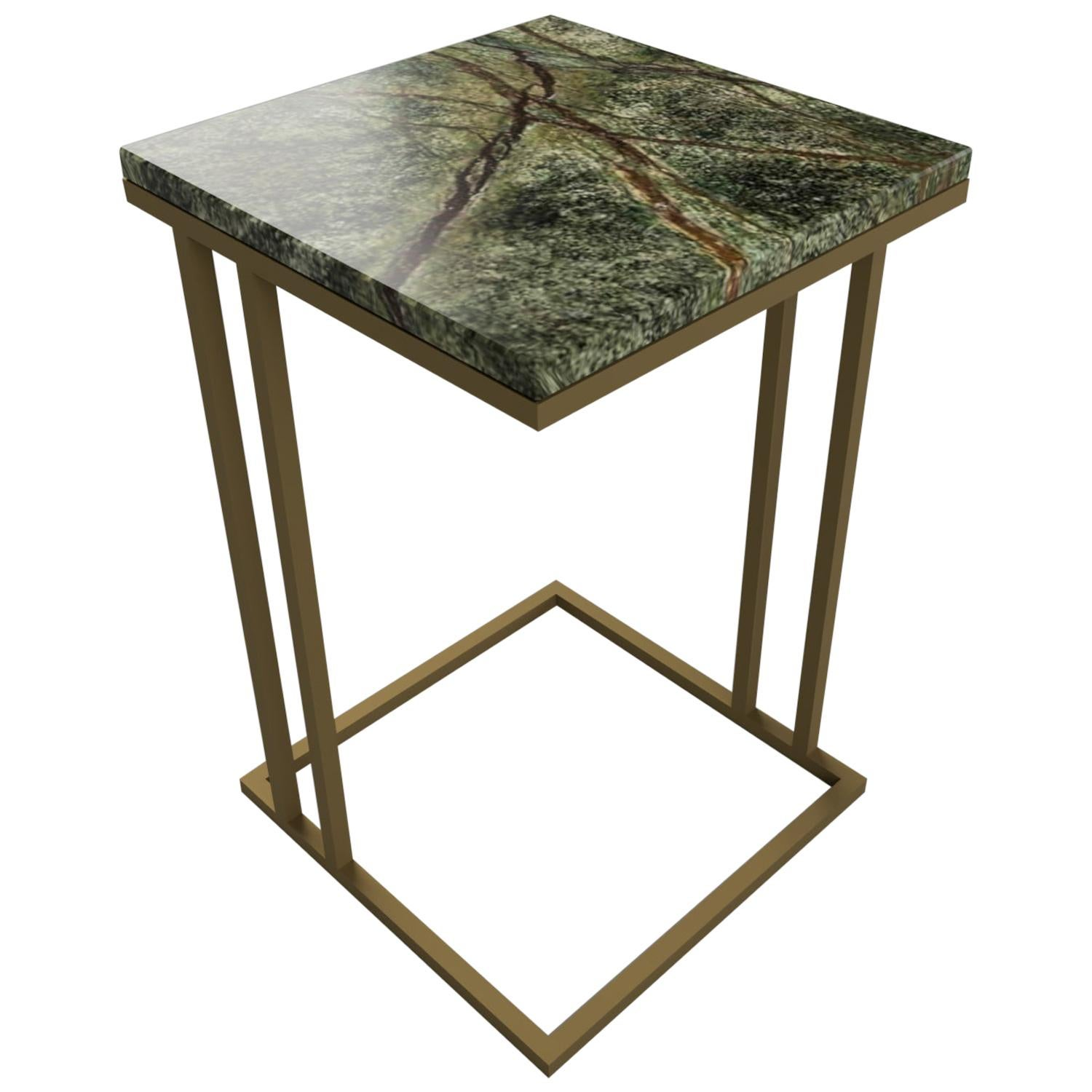 Art Deco Inspired Elio II Slim Side Table Squared Brass Tint and Marble Surface
