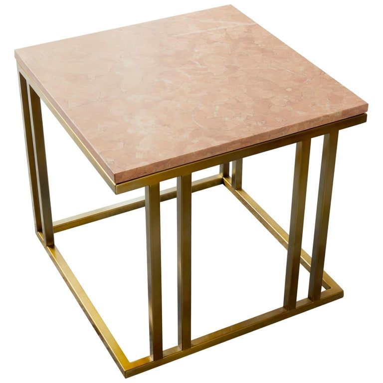 Art Deco Inspired Elio Side Table Antique Brushed Brass Tint Structure & Marble For Sale