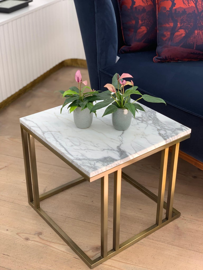 Art Deco Inspired Elio Side Table Antique Brushed Brass Tint & Arabescato Marble For Sale 3