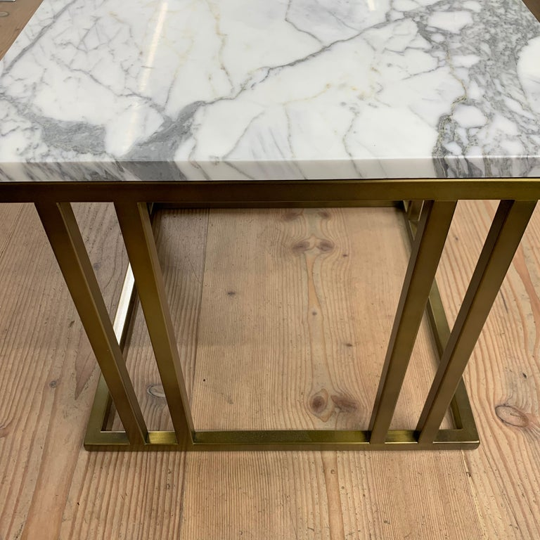 Art Deco Inspired Elio Side Table Antique Brushed Brass Tint & Arabescato Marble For Sale 5
