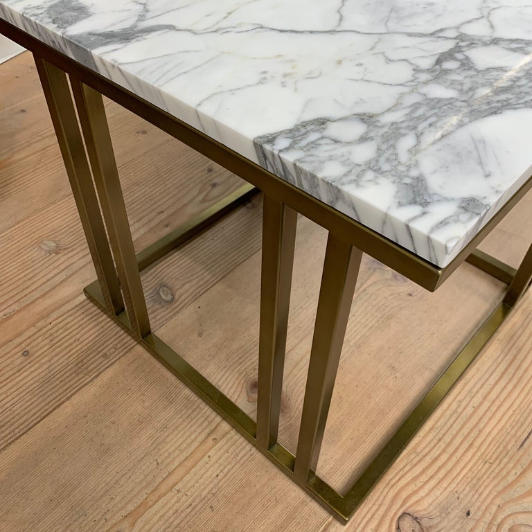 Stainless Steel Art Deco Inspired Elio Side Table Antique Brushed Brass Tint & Arabescato Marble For Sale