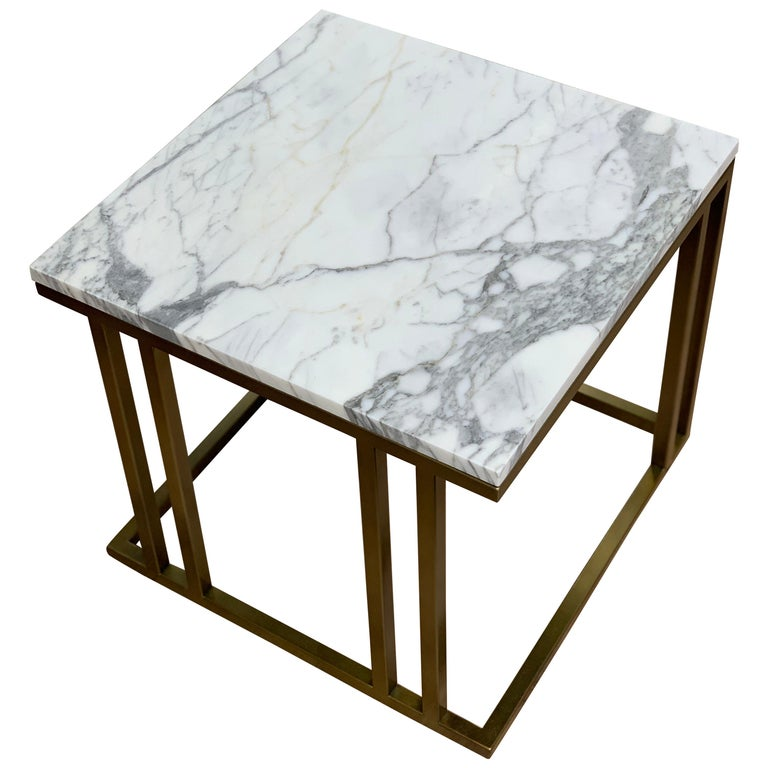 Art Deco Inspired Elio Side Table Antique Brushed Brass Tint & Arabescato Marble For Sale