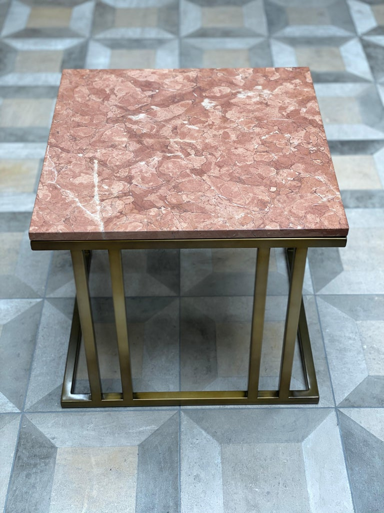 Art Deco Inspired Elio Side Table Antique Brushed Brass Tint Structure & Marble For Sale 6
