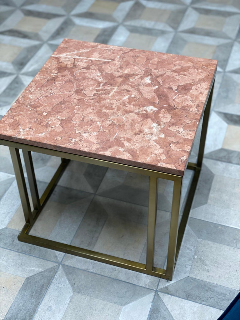 Plated Art Deco Inspired Elio Side Table Antique Brushed Brass Tint Structure & Marble For Sale