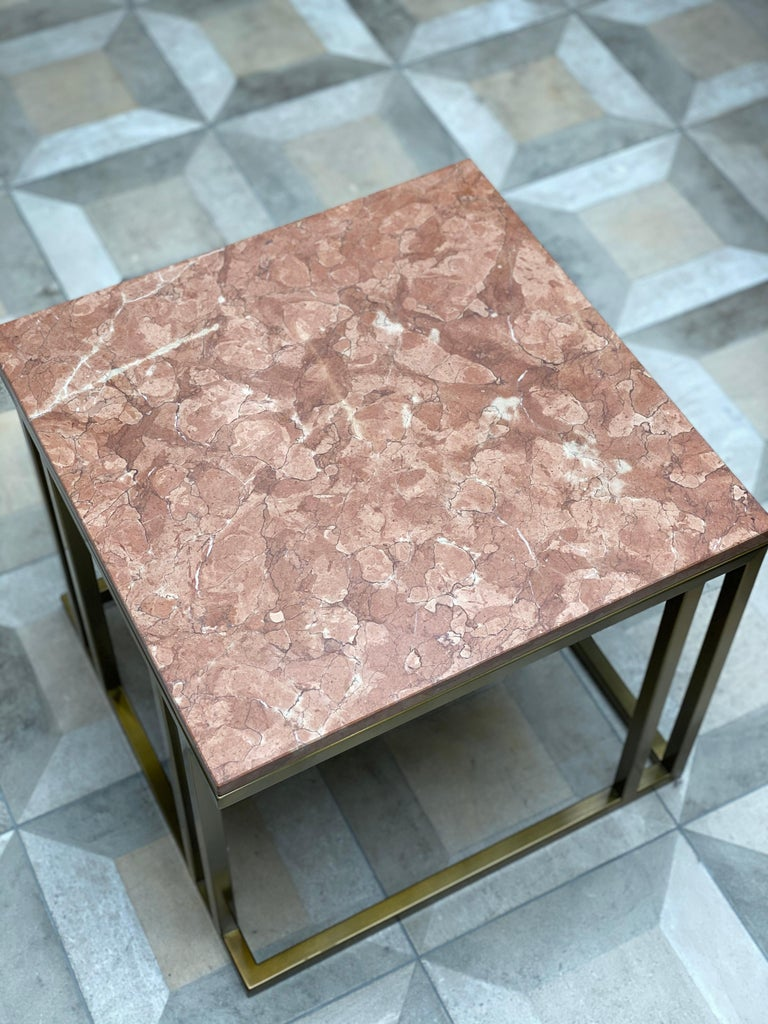 Art Deco Inspired Elio Side Table Antique Brushed Brass Tint Structure & Marble For Sale 2