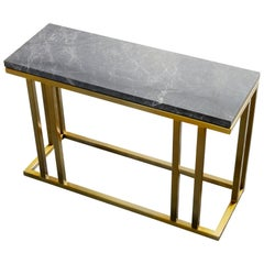 Art Deco Inspired Elio Slim Side Table Antique Brass Tint and Marble