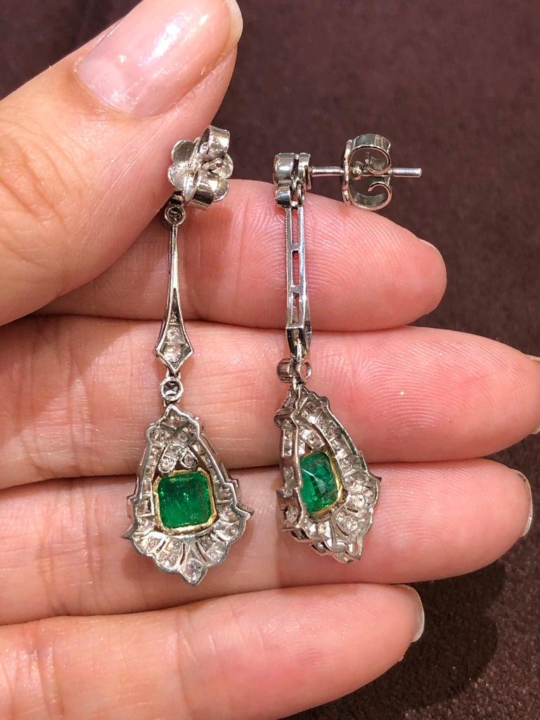 Emerald Cut Art Deco Style Emerald and Diamond Drop 18 Karat White Gold Earrings For Sale