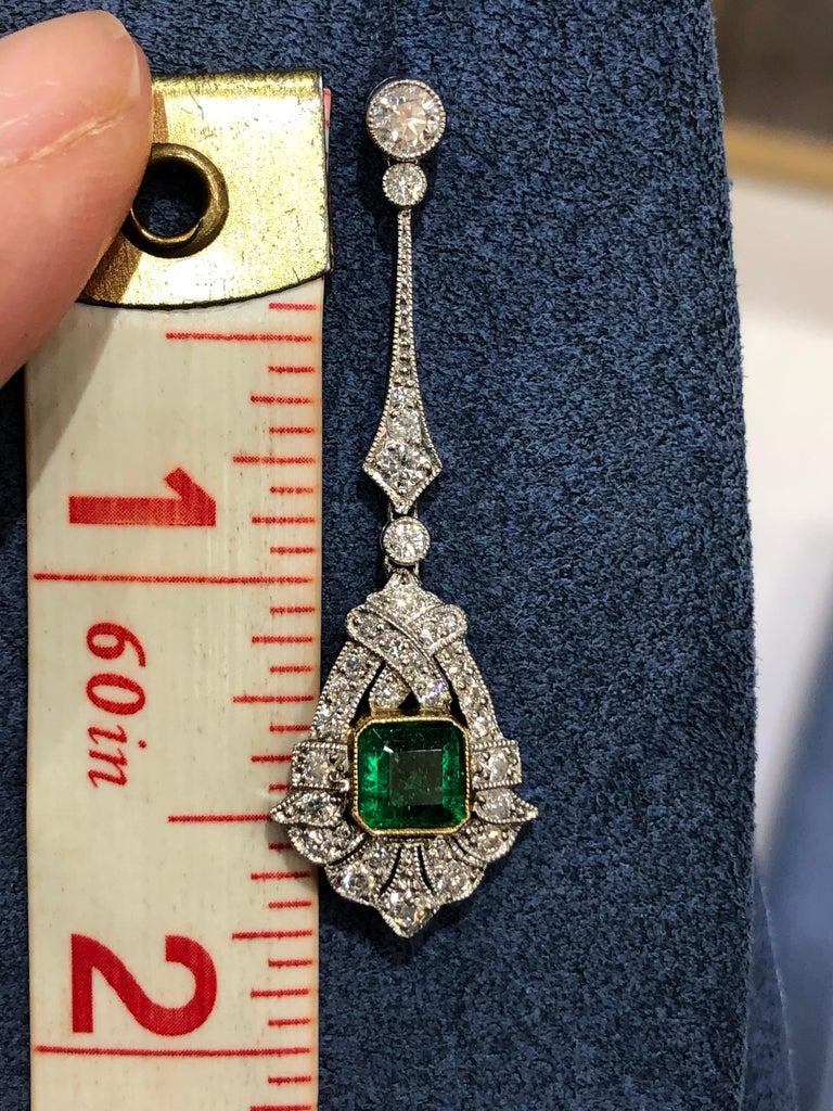 Women's Art Deco Style Emerald and Diamond Drop 18 Karat White Gold Earrings For Sale