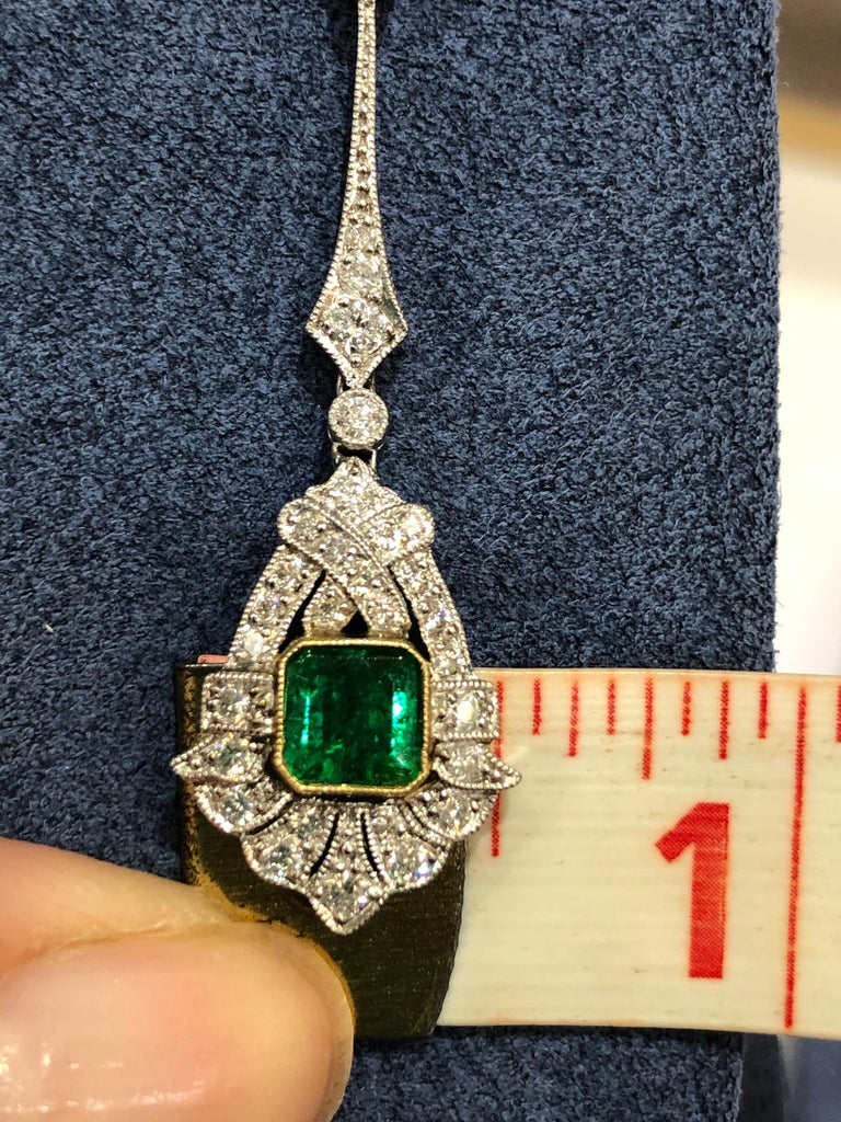 Art Deco Style Emerald and Diamond Drop 18 Karat White Gold Earrings For Sale 1