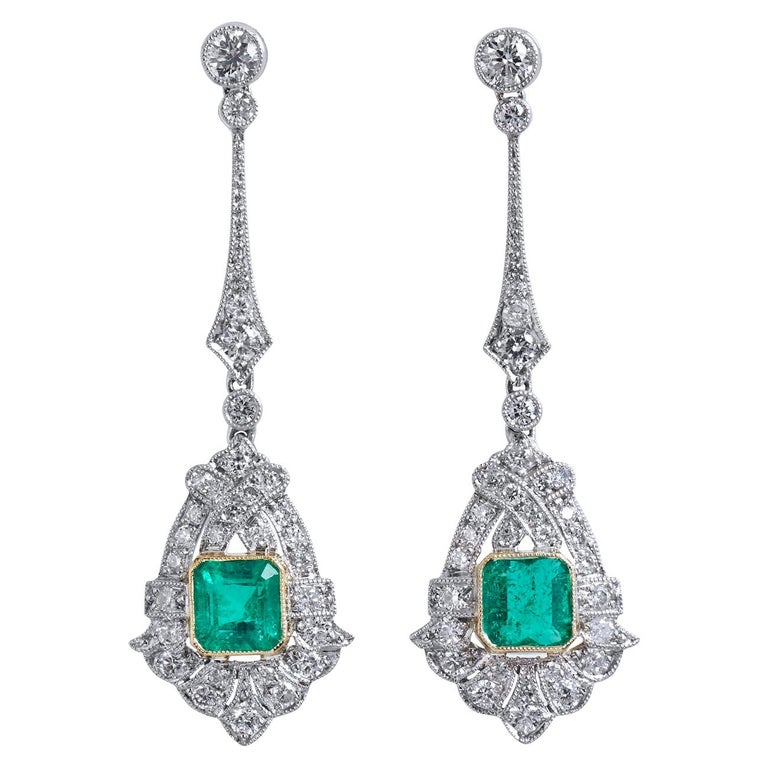Art Deco Style Emerald and Diamond Drop 18 Karat White Gold Earrings For Sale